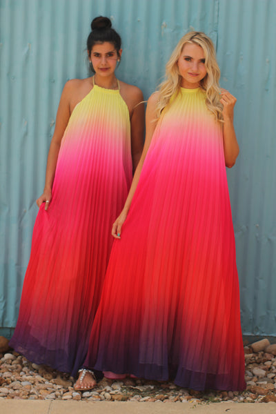 Sunset Multicolor Gold Tie Neck Pleated Dress