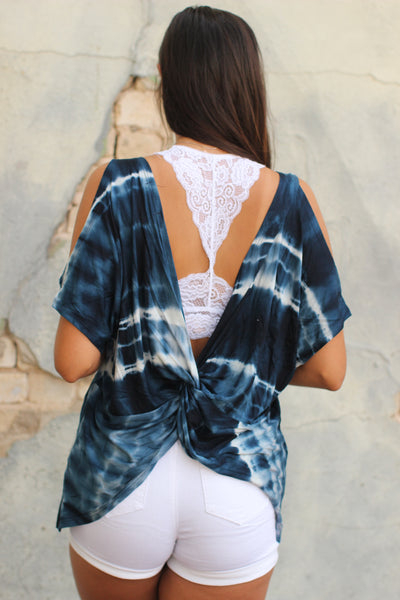 Navy Tie Dye Open Back Top