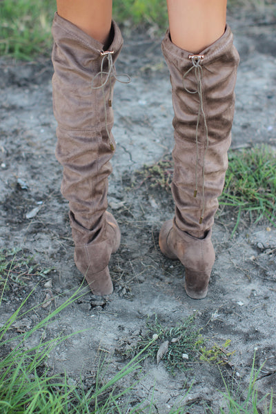 TAUPE THIGH HIGH ADJUSTABLE TIE BOOTS