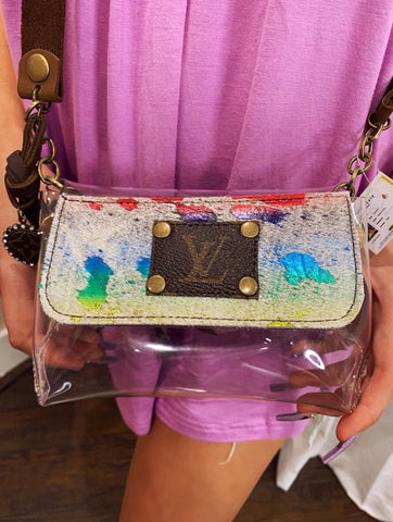 LV Refurbished Rainbow Cowhide Stadium Cross Body Purse
