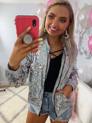 Party On Main Silver Sequin Jacket