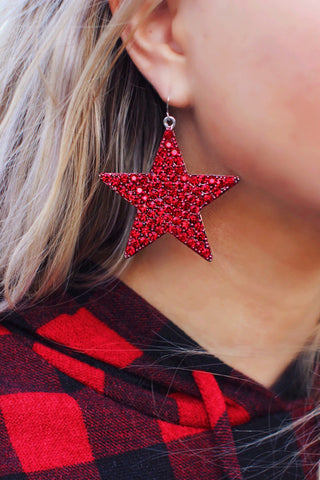 All Caught Up Red Crystal Star Earrings