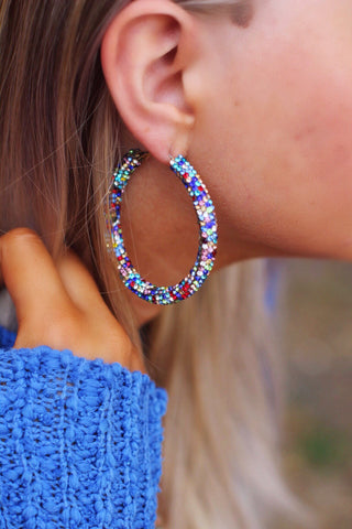 Clustered Blue Crystal Hoop Earrings