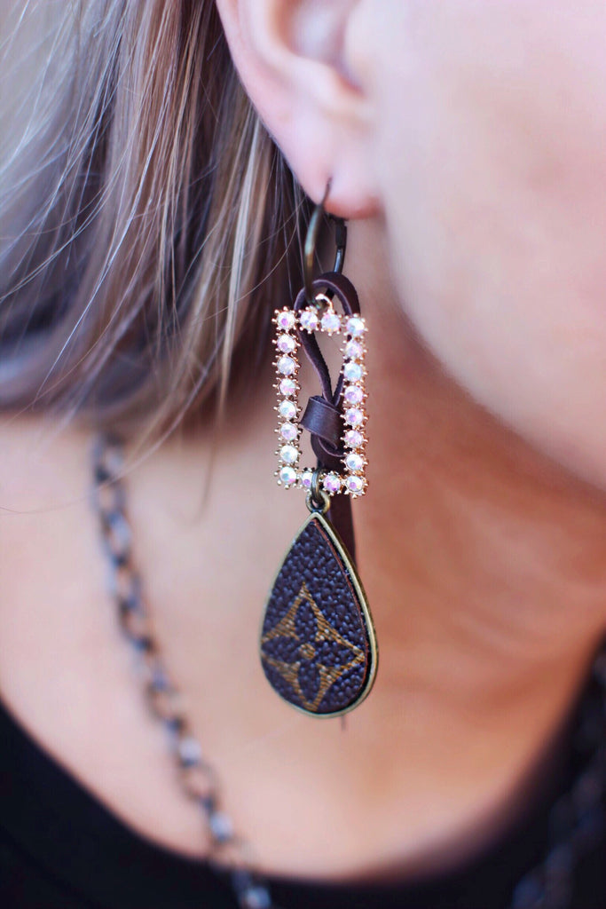 LV Brown Teardrop With Rectangle Ab Crystal Dangle Earrings