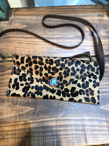 Leopard Cowhide AB Crystal Stone Crossbody Purse