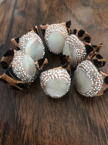 Leopard Mother of Pearl Pave Crystal Ring