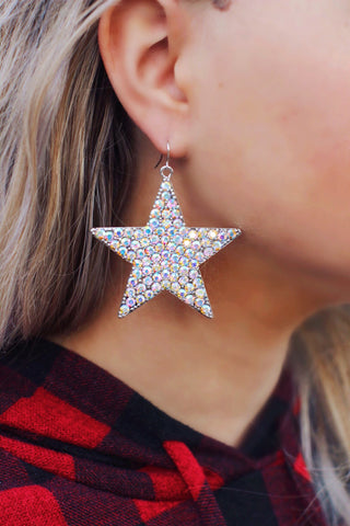 All Caught Up AB Crystal Star Earrings