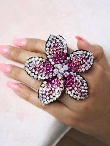 Lilo Pink AB Crystal Adjustable Size Flower Ring