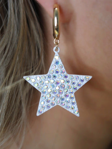 White AB Crystal Star Small Gold Hoop Earrings