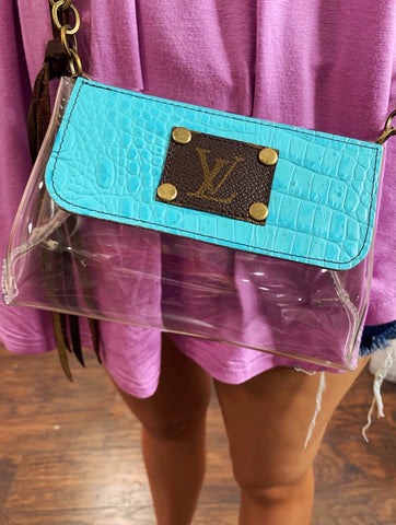 LV Refurbished Turquoise Stadium Cross Body Purse