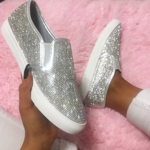 Bling it On Silver Clear Crystal Sneakers