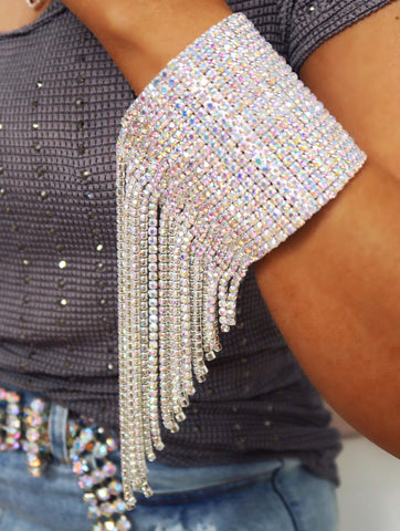High Shine AB Crystal Tassel Cuff Bracelet