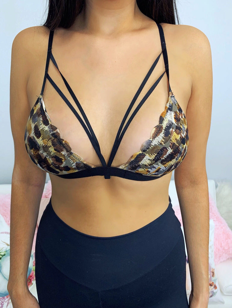 Kourtney Leopard Lace Strappy Bralette
