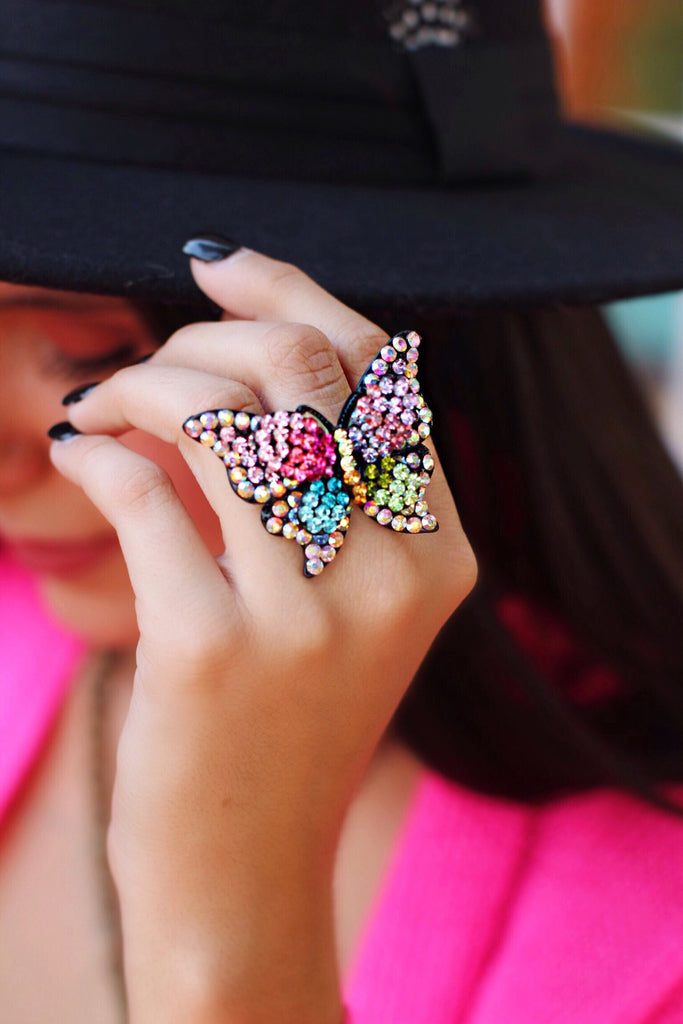 Flutter Pink Turqoise Multicolor Crystal Adjustable Size Butterfly Ring
