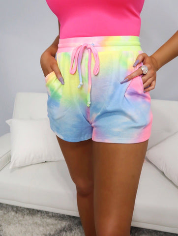 Whirlwind Romance Tie Dye Mid Rise Knit Shorts