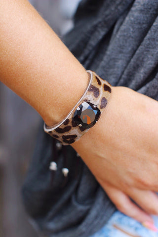 Leopard Crystal Cowhide Leather Stone Cuff