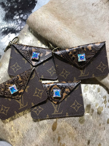 LV Brown Leather Tool Square AB Crystal Credit Card Holder Keychain