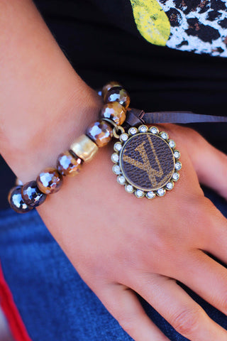LV Bronze Black Bling Bead LV Bracelet