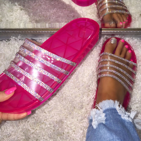 Flashy Feels AB Crystal Strap Hot Pink Slides