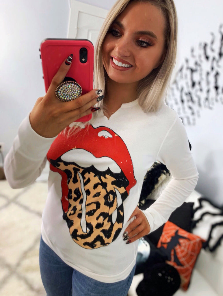 She's A Rock Star Leopard Tongue Distressed Thermal Top