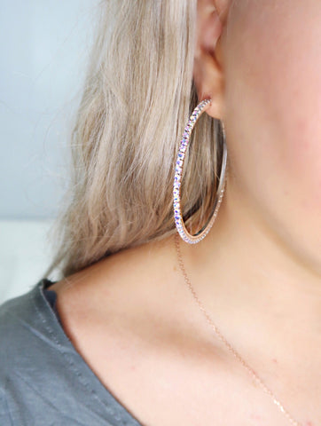 Gimme Glam Silver AB Crystal Big Hoop Earrings