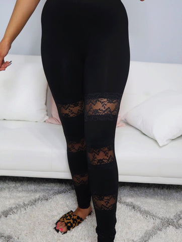 Pick Up Line Black Lace Panel Leggings