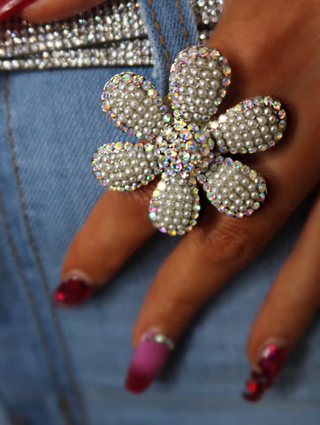 Daisy AB Crystal Adjustable Size Ring