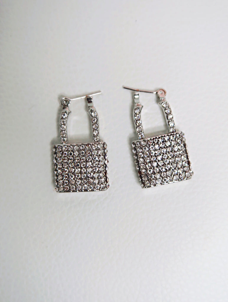 Bling Silver Lock Earrings