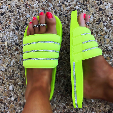 Beach Fling Neon Yellow with Bling Detail Slide Shoes
