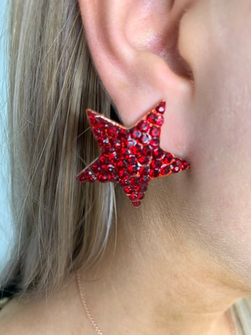 Starry Night Large Red Crystal Star Stud Earrings