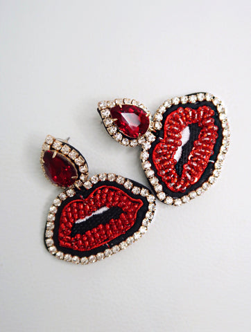 High Volume Red and Clear Crystal Lip Earrings