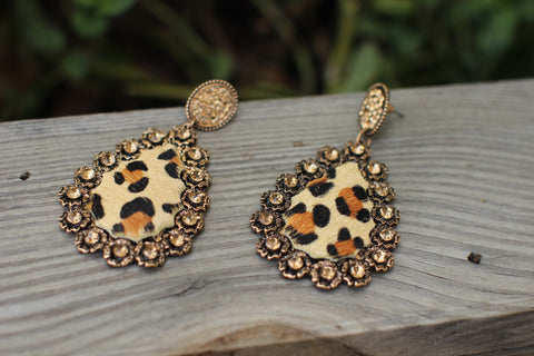 Abigail Leopard AB Crystal Teardrop Earrings