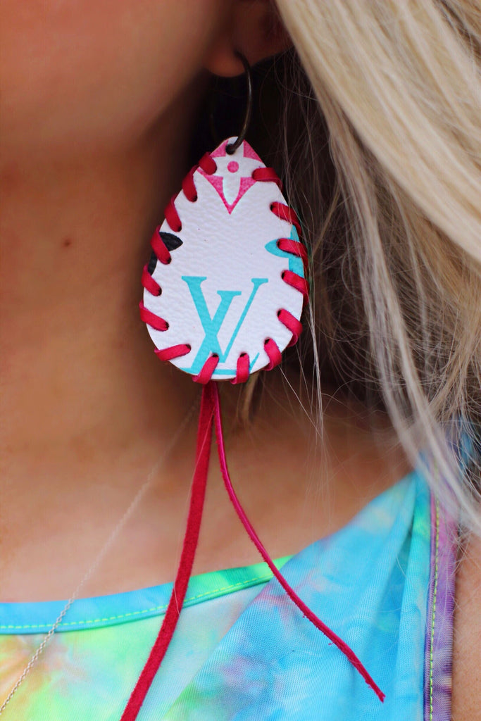 White LV Multicolor with Pink Braided Fringe Teardrop Earrings