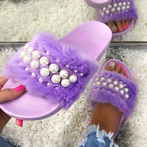 Ella Lavender with Pearl Furry Slides