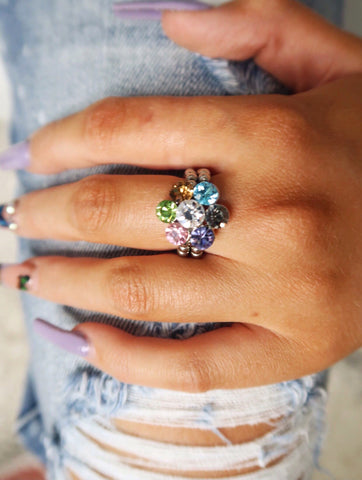 Small Multicolor Crystal Flower Stretch Ring