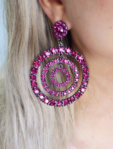 Prismatic Perfection Fuchsia Crystal Multi Hoop Post Back Earrings