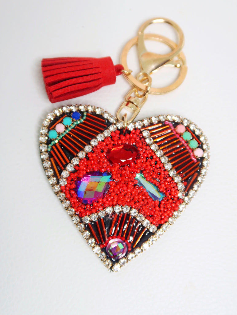 Red Crystal Multi Stone Heart Keychain