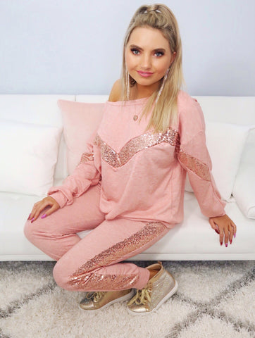 Nothing's Impossible Blush Pink Sequin Detail Jogger Set