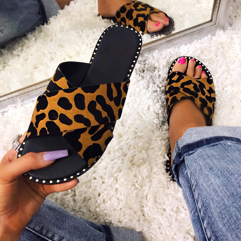 Leopard Queen Leopard and Black Stud Detail Sandals
