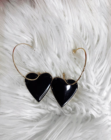 Black Heart Gold Hoop Earrings