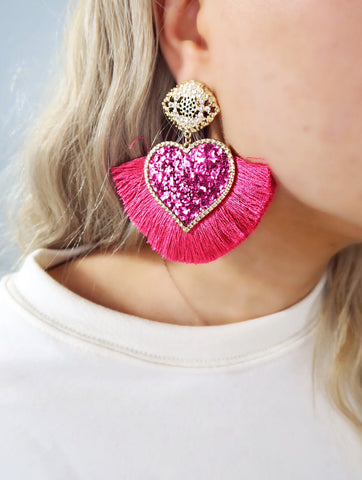 Fuchsia Pink Glitter Heart Tassel Earrings