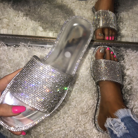 Jewell Clear Rhinestone Sandals