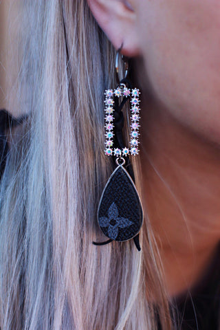 LV Black Teardrop With Rectangle Ab Crystal Dangle Earrings