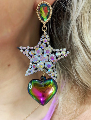 Make A Wish AB Crystal Star Multicolor Heart Earrings