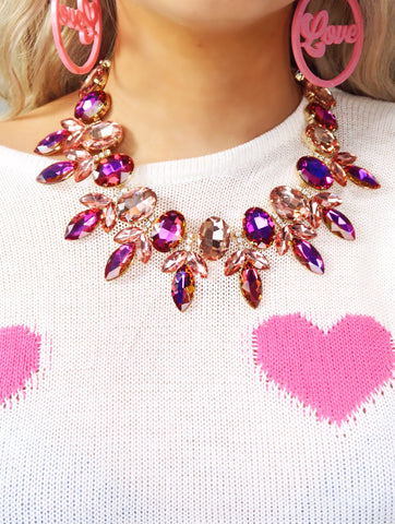 Glam Rock Pink and Fuchsia Glass Crystal Vine Collar Necklace