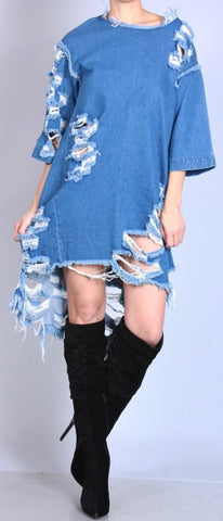 DENIM DISTRESS DRESS