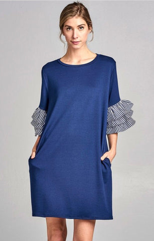 RUFFLE BLUE DRESS