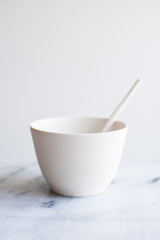 Large Matte White Bowl & Spoon