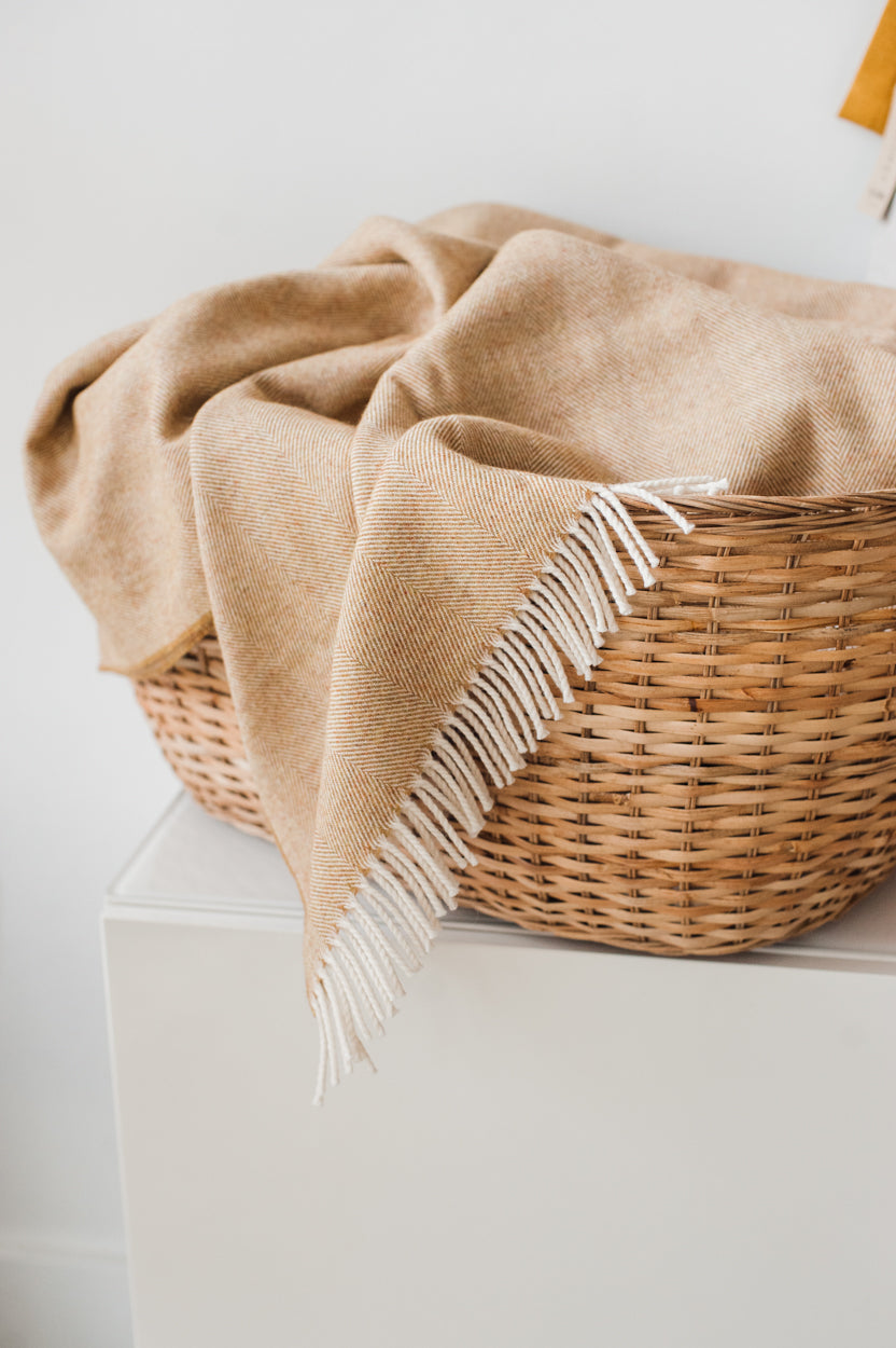 Lightweight Herringbone Throw - Honey
