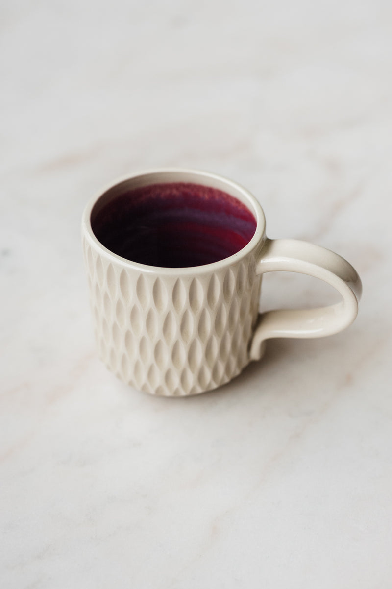 Essex Mug - White & Plum